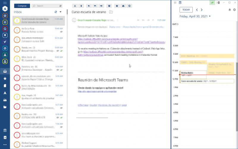 Ganador, cliente de correo Mailbird donde se aprecia el buzón unificado y calendario integrado en la misma pantalla.