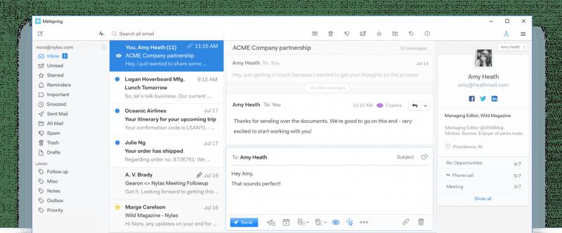 Cliente de correo Mailspring con buzón unificado y de código abierto