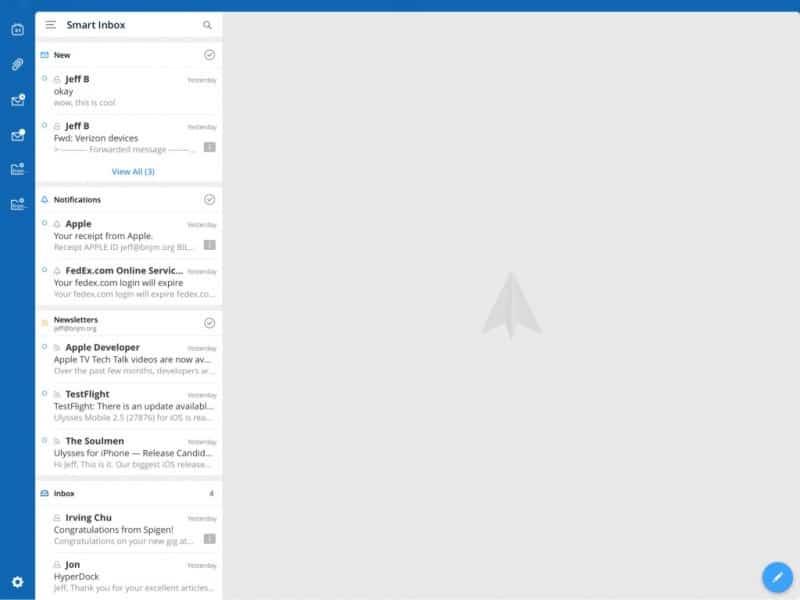 Cliente de correo Spark con buzón unificado y sincronización de credenciales entre dispositivos