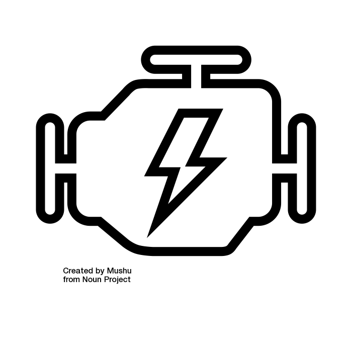 Simplified icon of an engine - similar to a dashboard light of a vehicle - as an analogy