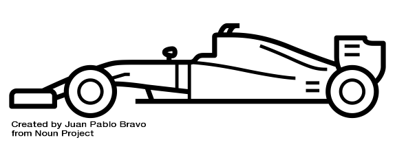 Drawing of a formula one car as an analogy of an agile team.