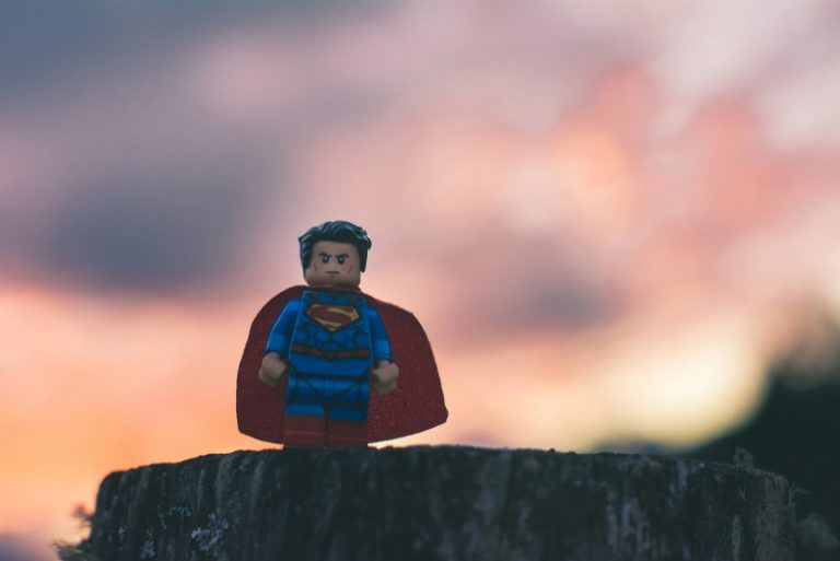Funko Superman in shallow focus as a hero
